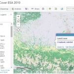 Excerpt from World LandCover ESA 2010 showing the Pyrenees in the south, and Garonne Valley of France in the north.