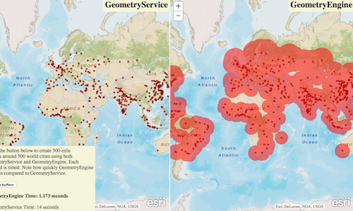 Click to open app comparing GeometryEngine's performance vs GeometryService