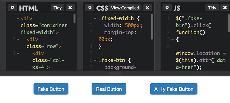 CodePen showing three identical-looking buttons