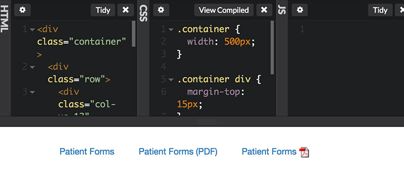 CodePen showing how to indicate link as PDF