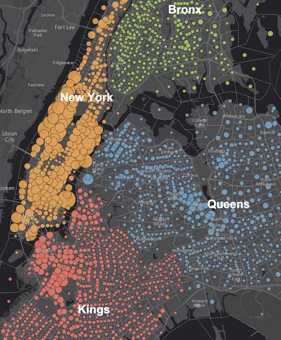 People with Bachelors' Degrees in the Boroughs of New York
