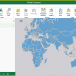 Screenshot of Maps for Office showing the countries of the world on a map.