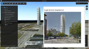 Google Street view with a Trimble 3D Warehouse model in the background in ArcGIS Earth