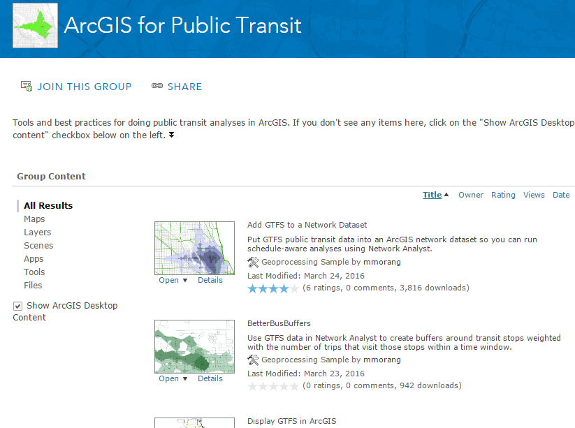 ArcGIS for Public Transit ArcGIS Online group screenshot
