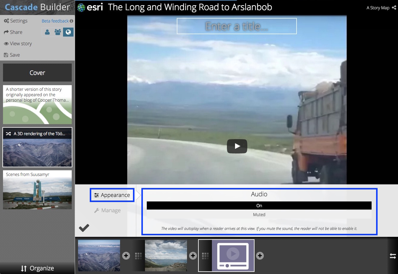 Using The Story Map Cascade Builder Configuring Media Sound Developing System Diagrams As A Useful Road Pro Web For Videos In Immersive Sections You Have Choice If Want Audio Enabled Your Readers Or Not Mute Will Be Able To
