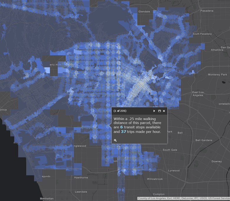 Transit frequency in Los Angeles parcels