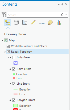 The topology in the map's Contents pane