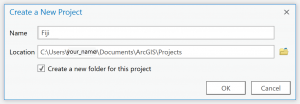 Create a project dialog box