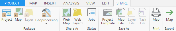 Share tab in ArcGIS Pro