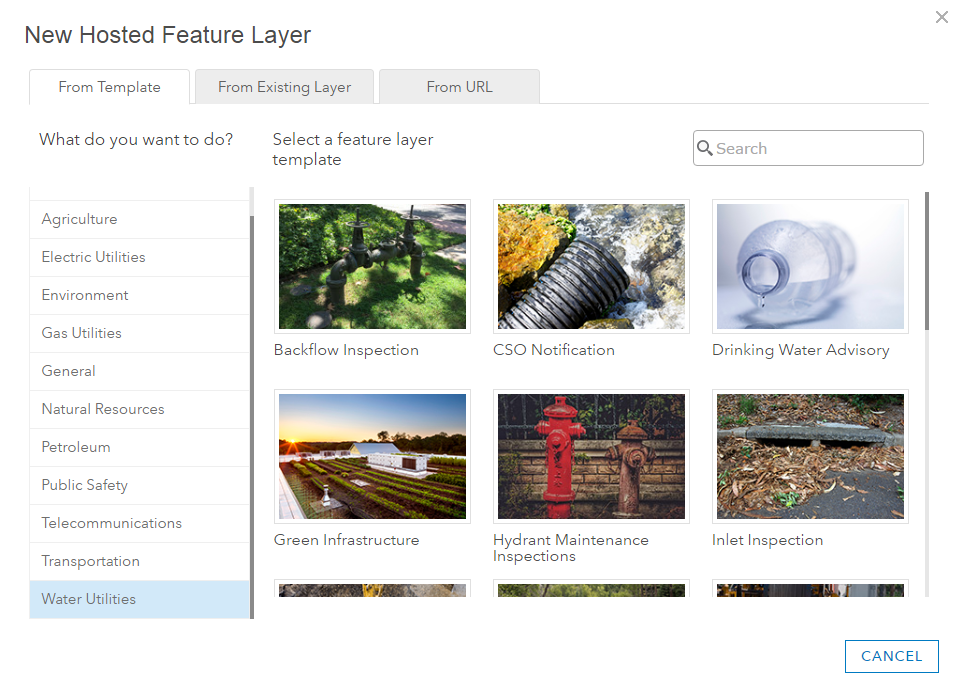 Hosted feature template gallery