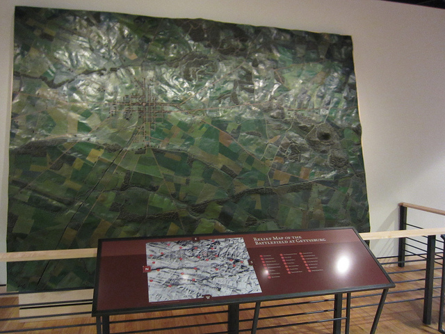The Cope Map, a raised relief installation at the Gettysburg visitor center.