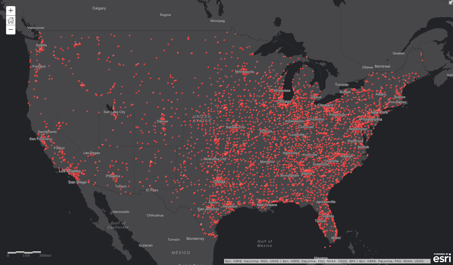 for example here is a map in arcgis online showing the locations of a popular pizza franchise in the united states i am a big fan of their deep dish