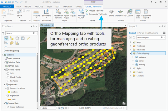 Ortho Mapping tab with tools for managing and creating georeferenced ortho products