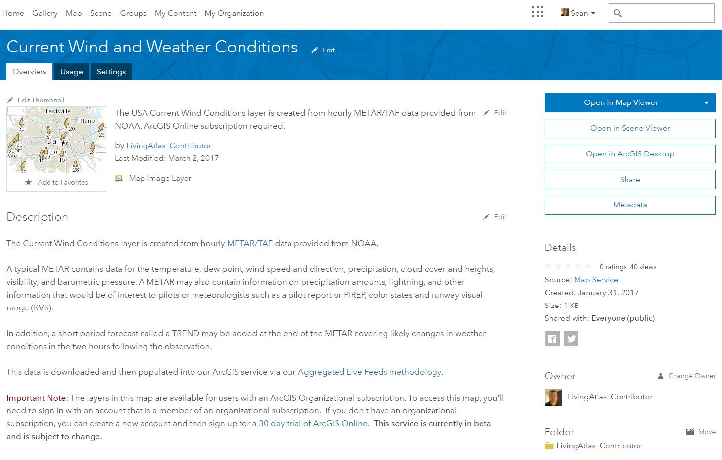 ArcGIS Online Item Details page