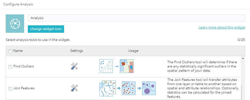 Analysis widget - 2 new tools