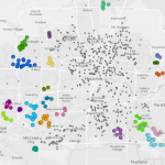 Density-based clustering results for 311 calls in the city of Houston using R's DBSCAN package in ArcGIS.
