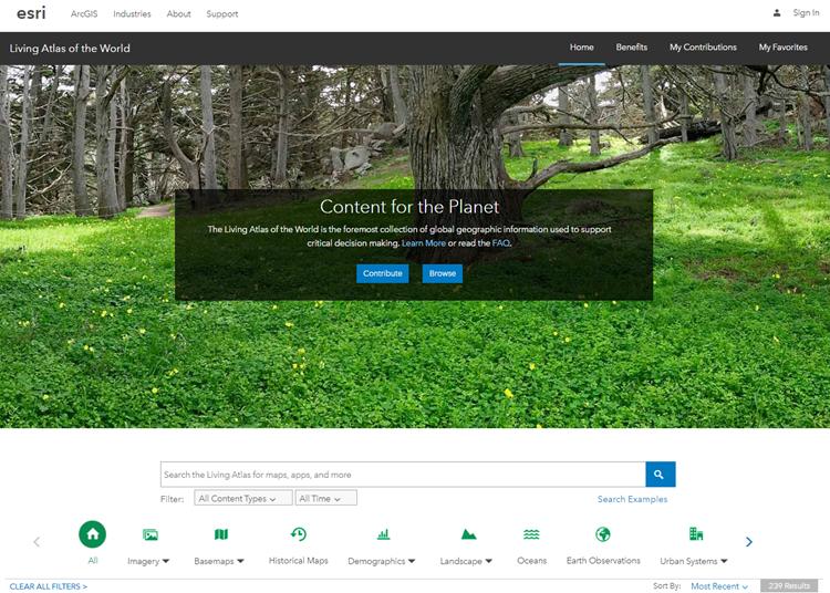 Living Atlas of the World website Home tab