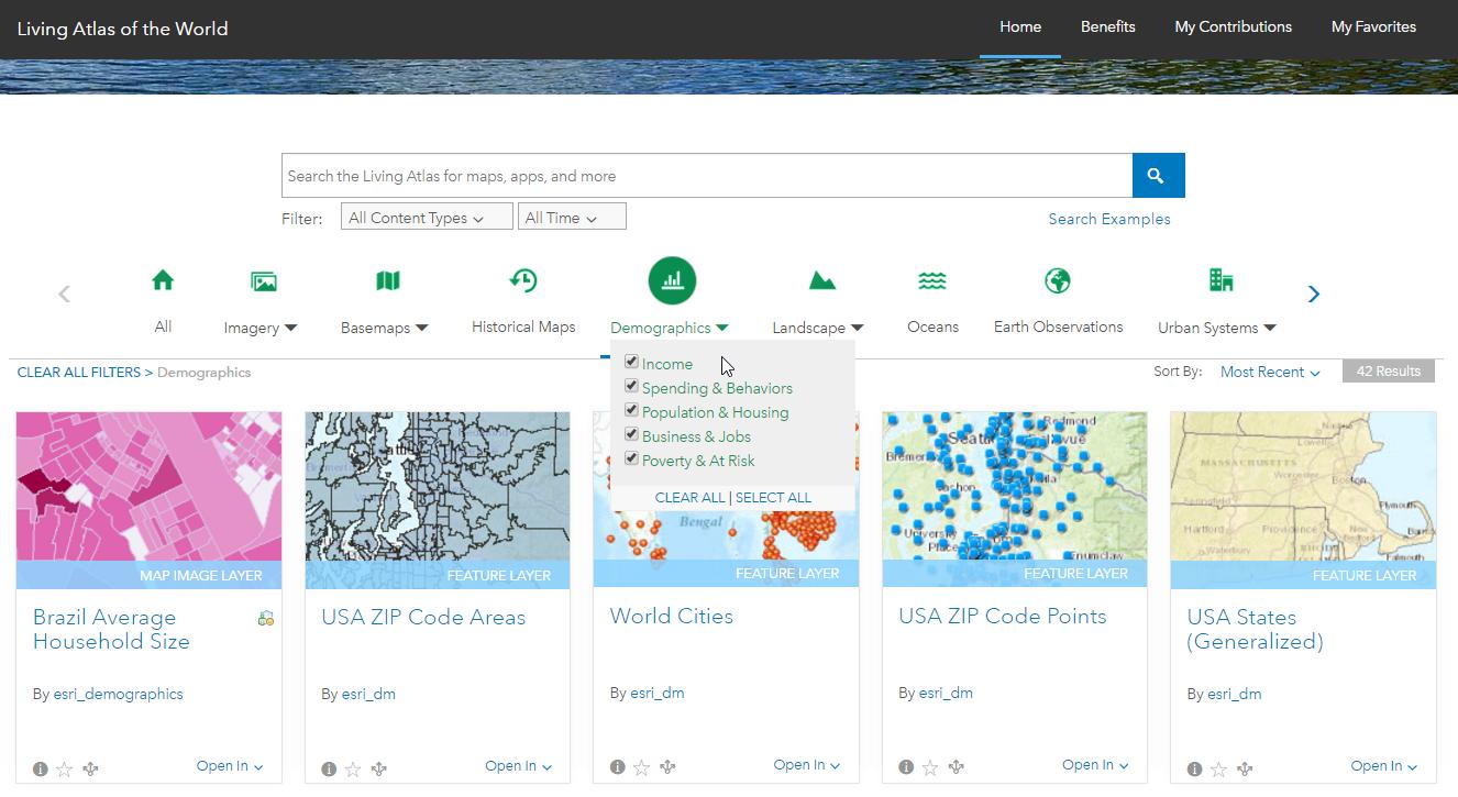 Living Atlas of the World website Home tab filter