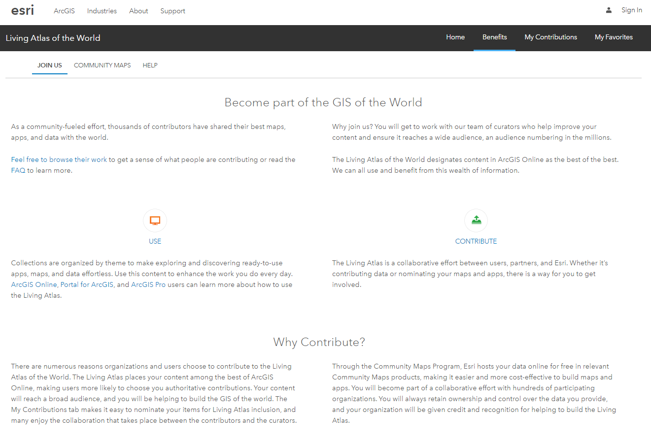 Living Atlas of the World website Benefits tab