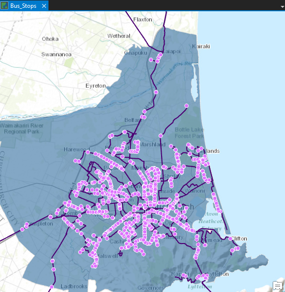 Map of bus routes and stops in ArcGIS Pro