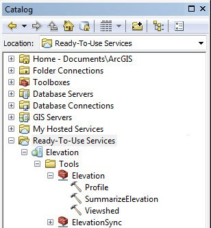 Figure 2: ArcMap Elevation Services