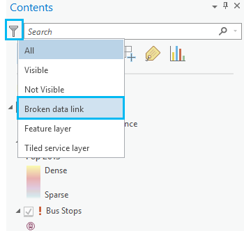 Click filter and click Broken data link.