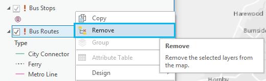 Right click to remove layer.