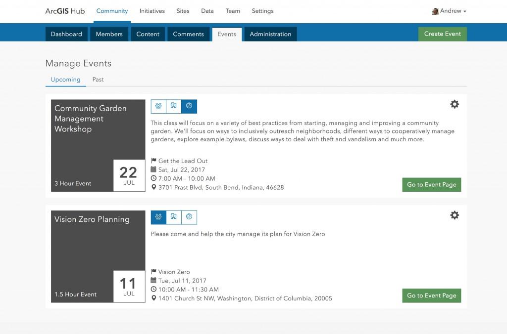 ArcGIS Hub Event Management