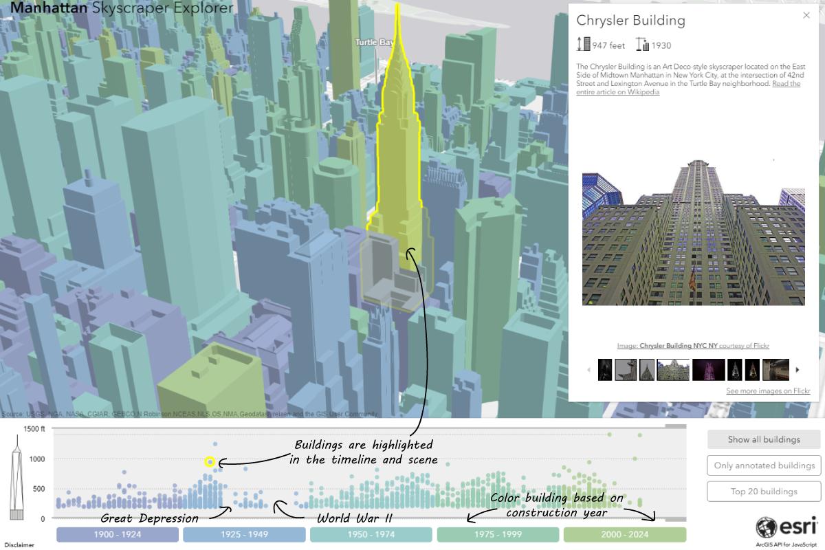 Manhattan Skyscraper Explorer When Open Data And Arcgis Api For