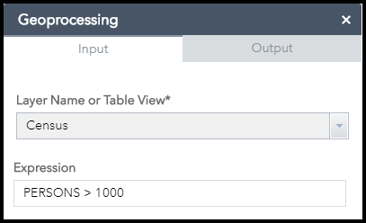 Selecting features from a layer in the web app using a geoprocessing widget