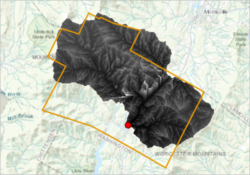 A raster of Flow times for the town of Stowe, Vermont