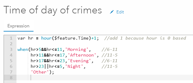"Arcade Expression code (eight lines) to create a new field ""Time of day of crimes""."
