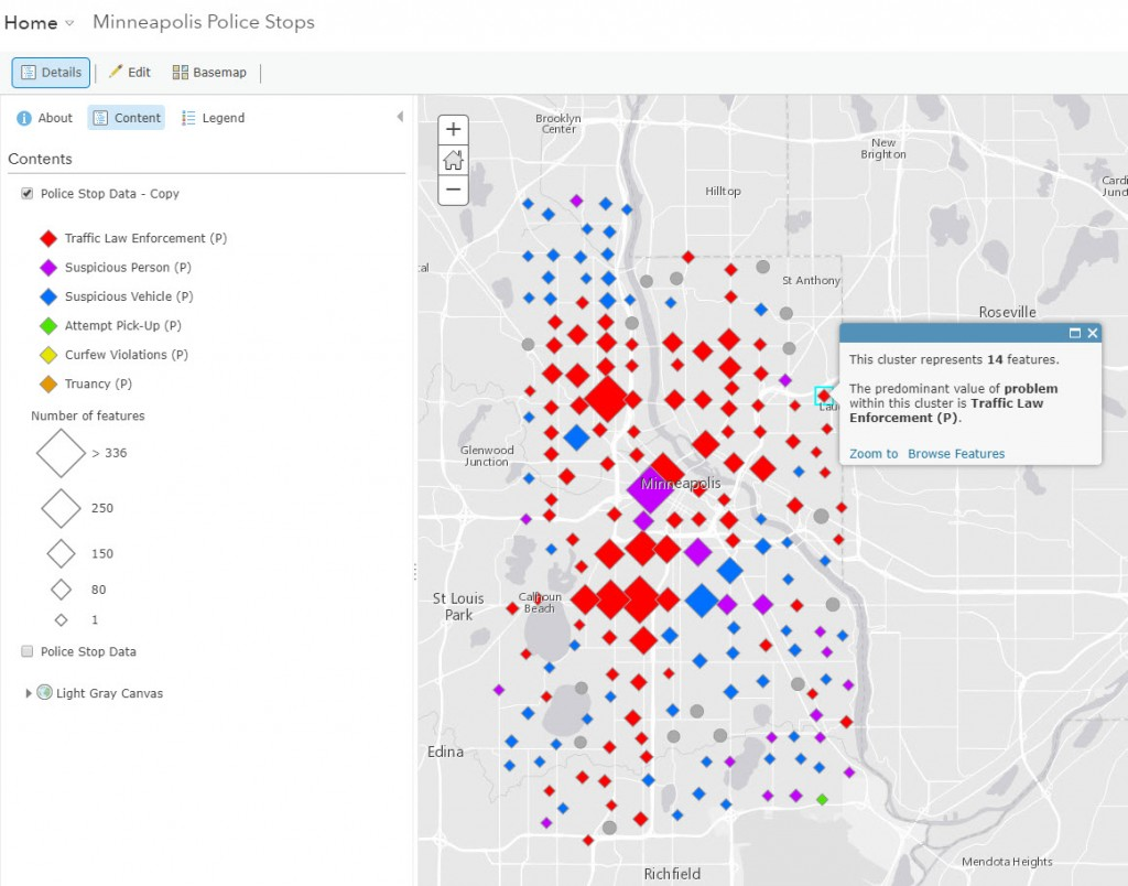 Default pop-up as shown on layer of Minneapolis Police Stops. Red diamonds represent clusters of Traffic Law Enforcement stops.