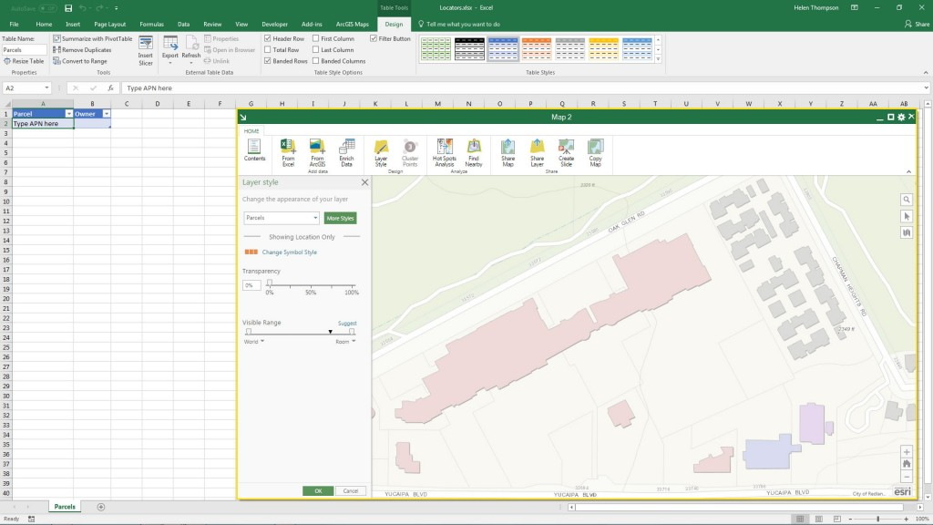 Linking an Excel table to an ArcGIS Online map service