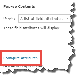 Pop-up Contents with Configure Attributes link
