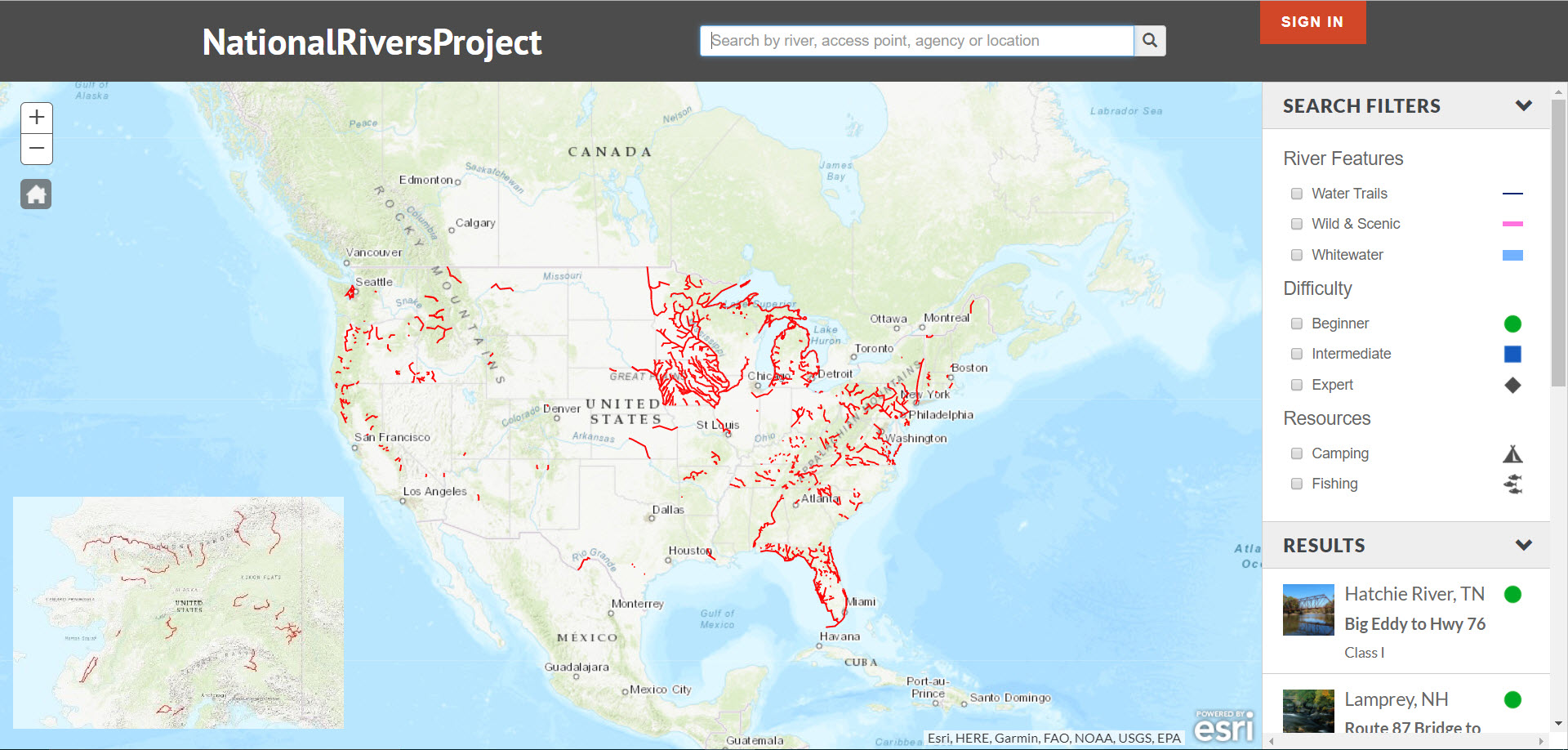 National Rivers Project Explorer page –  screenshot showing all rivers in the National River Recreation Database