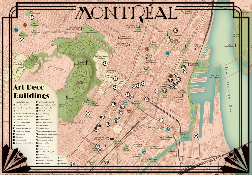 Montreal Art Deco Buildings Map by Sarah Bell