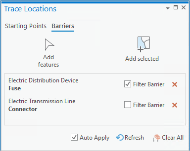 Set featurs as filter barriers in Trace Locations pane