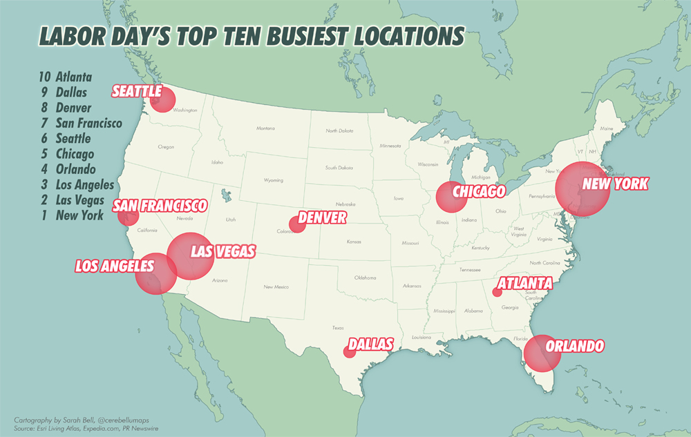 Top 10 Destinations map