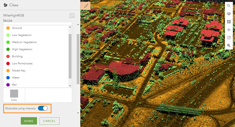 Point cloud smart mapping in 3D with Scene Viewer
