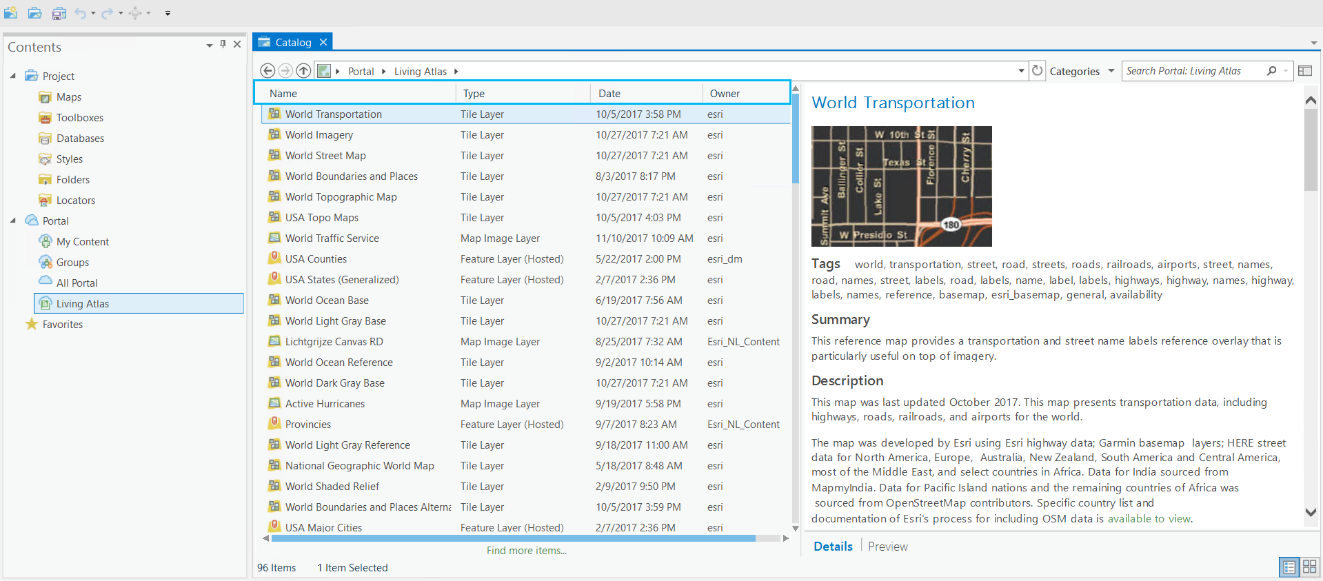 Catalog view with date and owner