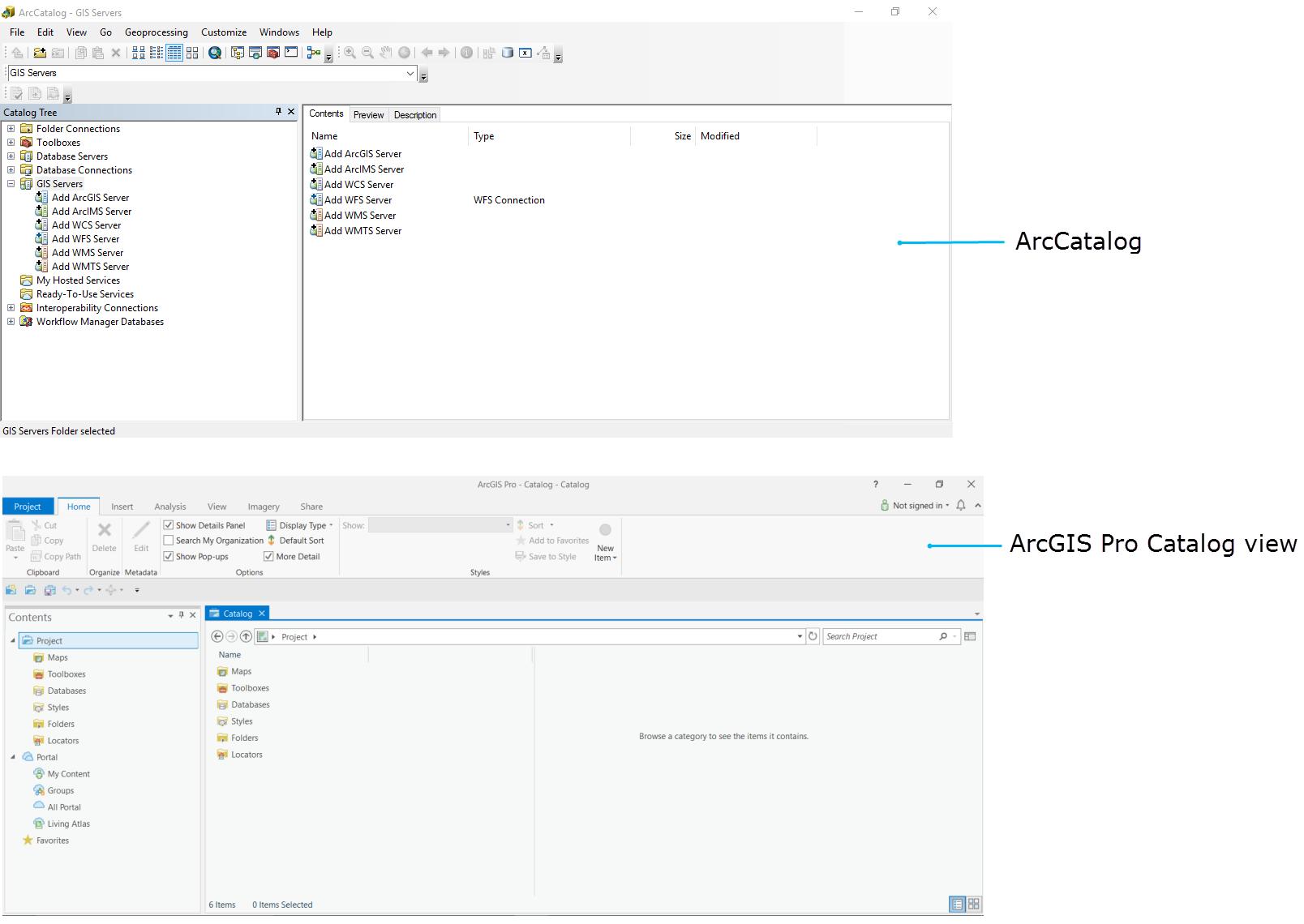 ArcCatalog and ArcMap Catalog view
