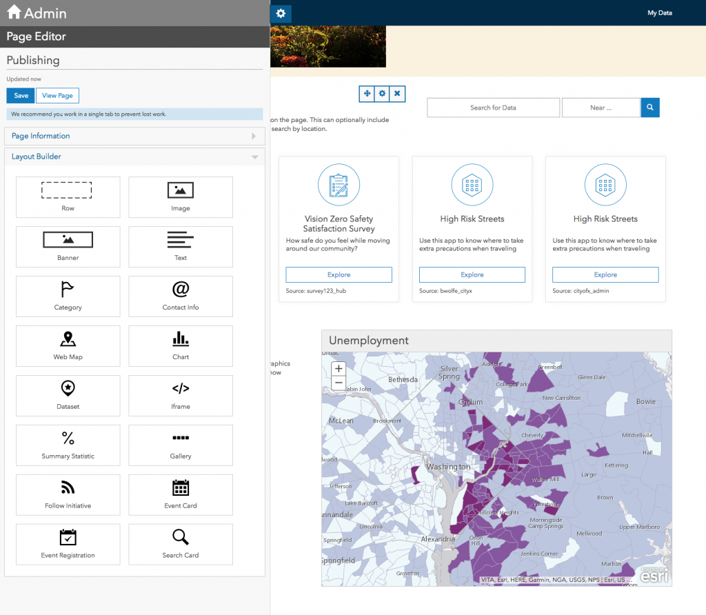 ArcGIS Sites webmap Card view