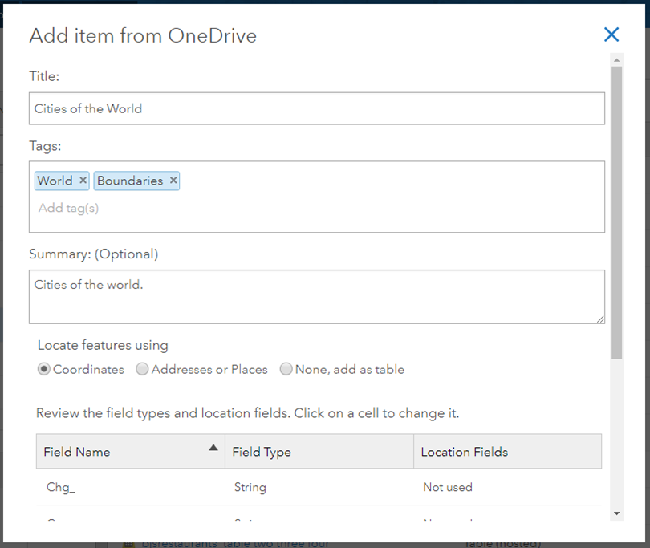 Publish layers from files on Microsoft OneDrive, Dropbox, and Google