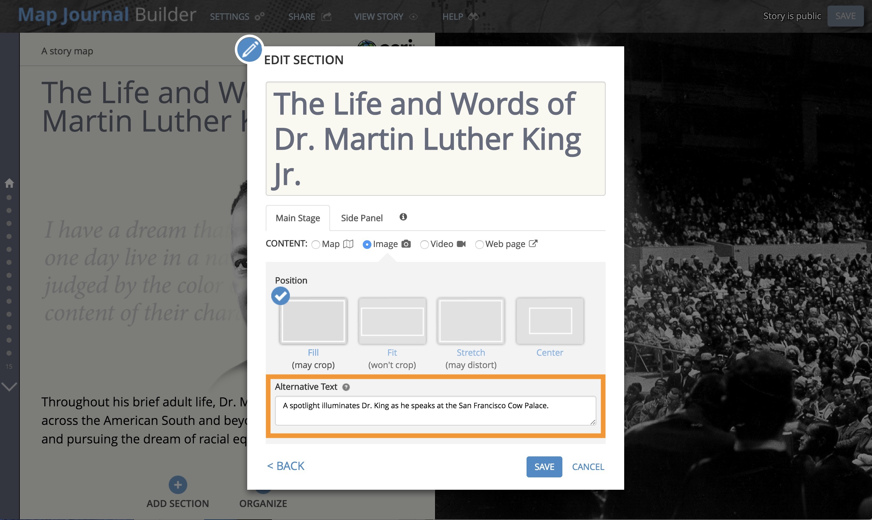 Improve accessibility of your Story Map by adding