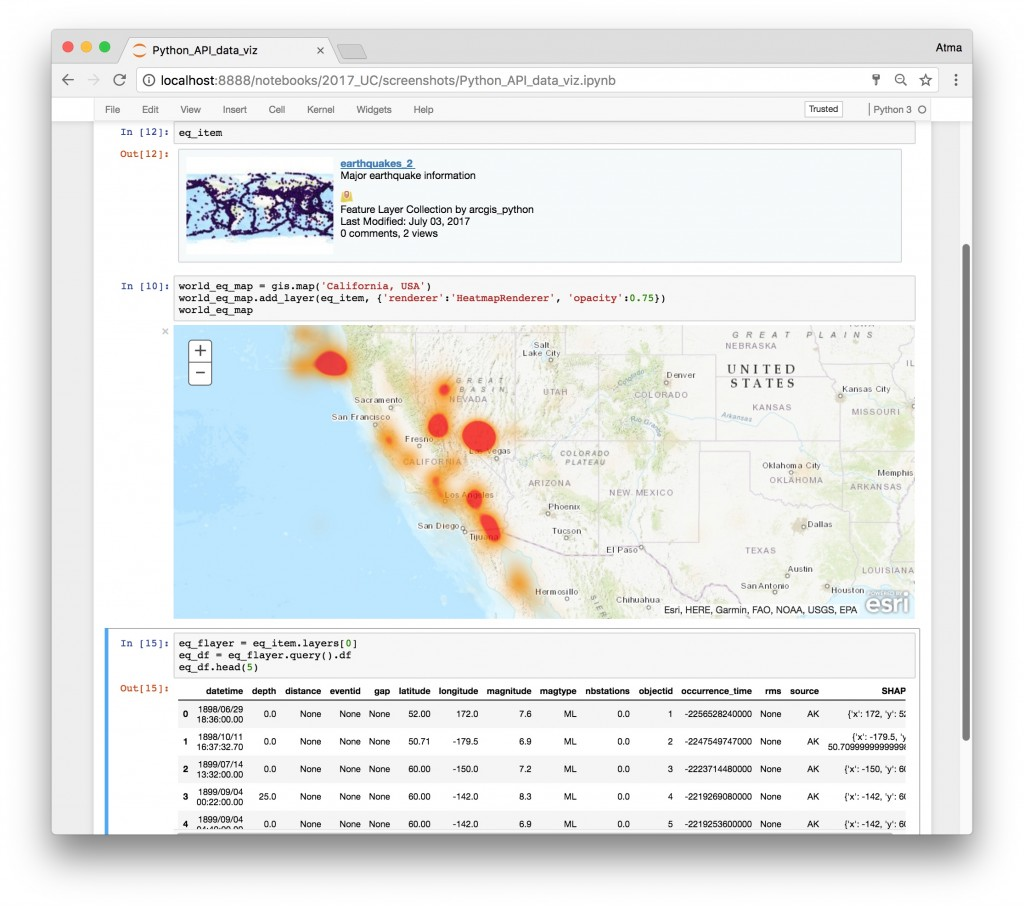 Visualize spatial and attribute data in Jupyter notebooks with Python API