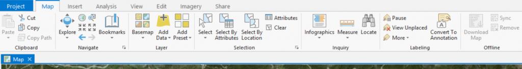 Map ribbon tab