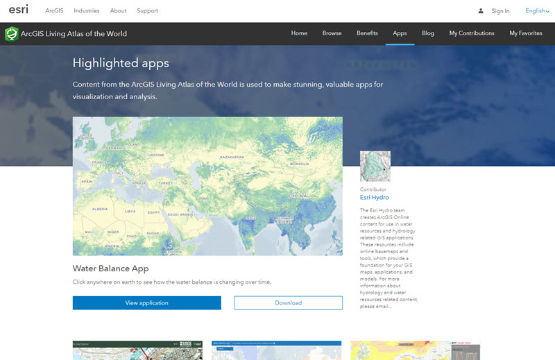 Living Atlas website Apps page