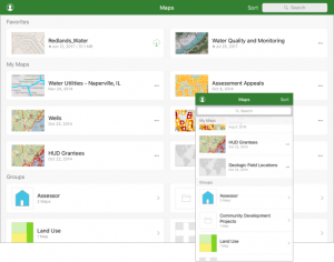 Screenshot showing groups in Explorer for ArcGIS 18.1 (iOS)