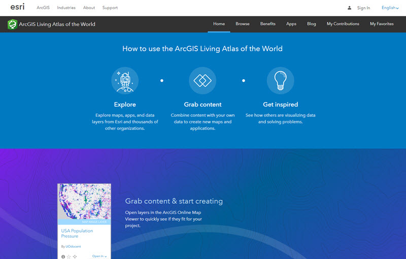 Living Atlas website Home page